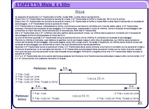 STAFFETTA Mista 4 x 50m 1° Fraz - Nuoto Partenza / Arrivo 3° Fraz - Nuoto con Torpedo 2° Fraz – Nuoto con pinne 4° Fraz - Nuoto con Pinne, Torpedo e V