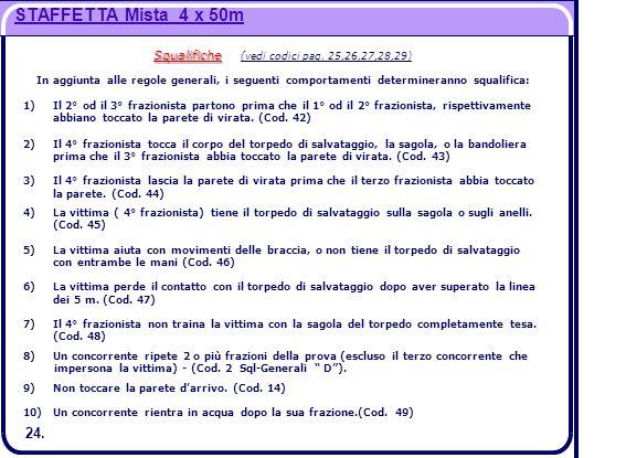 STAFFETTA Mista 4 x 50m Squalifiche Squalifiche (vedi codici pag. 25,26,27,28,29) In aggiunta alle regole generali, i seguenti comportamenti determine
