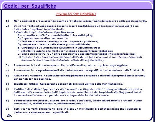 SQUALIFICHE GENERALI 1)Non completa la prova secondo quanto previsto nella descrizione della prova o nelle regole generali. 2)Un concorrente od una sq