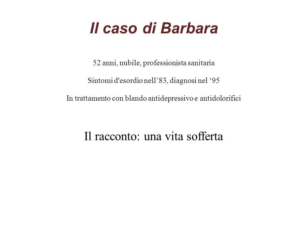 Il caso di Barbara 52 anni, nubile, professionista sanitaria Sintomi d'esordio nell'83, diagnosi nel '95 In trattamento con blando antidepressivo e an