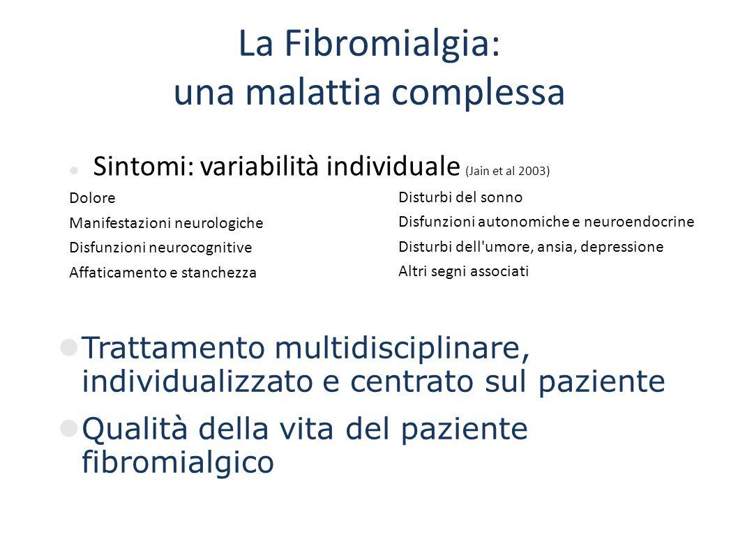 La Fibromialgia: una malattia complessa Disturbi del sonno Disfunzioni autonomiche e neuroendocrine Disturbi dell'umore, ansia, depressione Altri segn