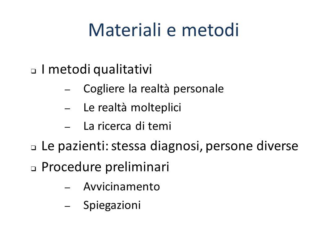Materiali e metodi  I metodi qualitativi – Cogliere la realtà personale – Le realtà molteplici – La ricerca di temi  Le pazienti: stessa diagnosi, p
