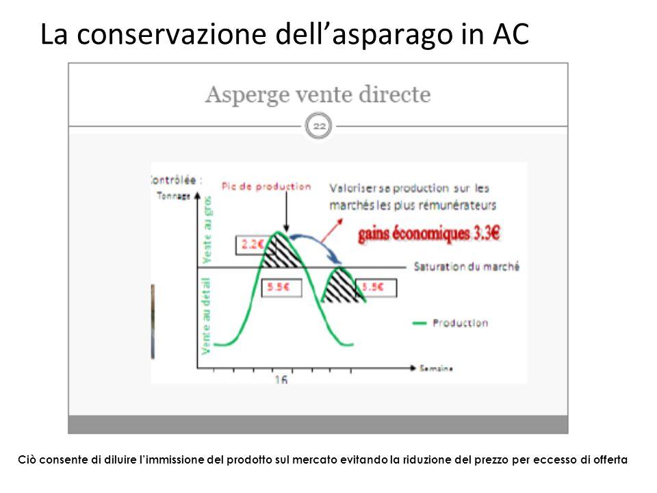 La conservazione dell'asparago in AC Ciò consente di diluire l'immissione del prodotto sul mercato evitando la riduzione del prezzo per eccesso di off
