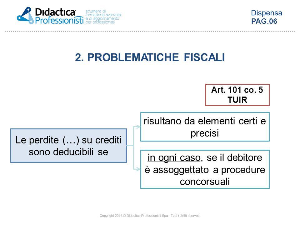 Art. 101 co. 5 TUIR Le perdite (…) su crediti sono deducibili se risultano da elementi certi e precisi in ogni caso, se il debitore è assoggettato a p