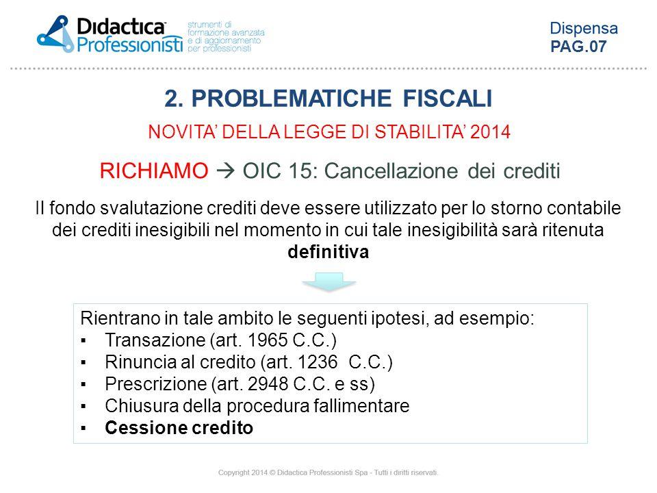 RICHIAMO  OIC 15: Cancellazione dei crediti Il fondo svalutazione crediti deve essere utilizzato per lo storno contabile dei crediti inesigibili nel