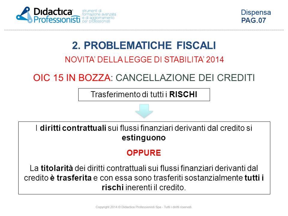 OIC 15 IN BOZZA: CANCELLAZIONE DEI CREDITI Trasferimento di tutti i RISCHI I diritti contrattuali sui flussi finanziari derivanti dal credito si estin