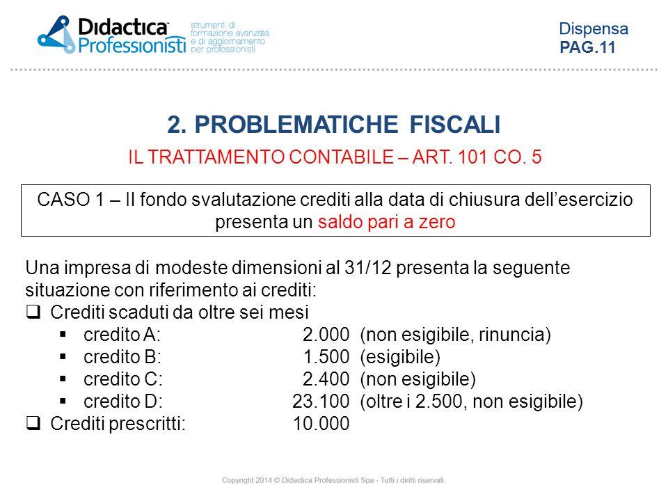 CASO 1 – Il fondo svalutazione crediti alla data di chiusura dell'esercizio presenta un saldo pari a zero Una impresa di modeste dimensioni al 31/12 p