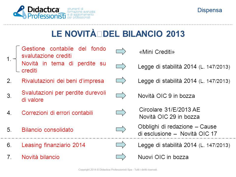 Gestione contabile del fondo svalutazione crediti Novità in tema di perdite su crediti 1. «Mini Crediti» Legge di stabilità 2014 (L. 147/2013) Rivalut
