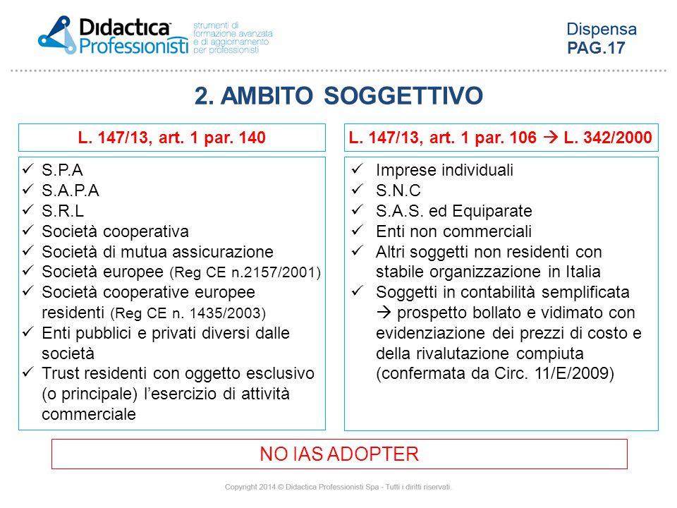 2. AMBITO SOGGETTIVO S.P.A S.A.P.A S.R.L Società cooperativa Società di mutua assicurazione Società europee (Reg CE n.2157/2001) Società cooperative e