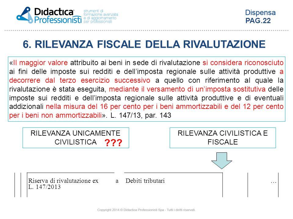 6. RILEVANZA FISCALE DELLA RIVALUTAZIONE «Il maggior valore attribuito ai beni in sede di rivalutazione si considera riconosciuto ai fini delle impost