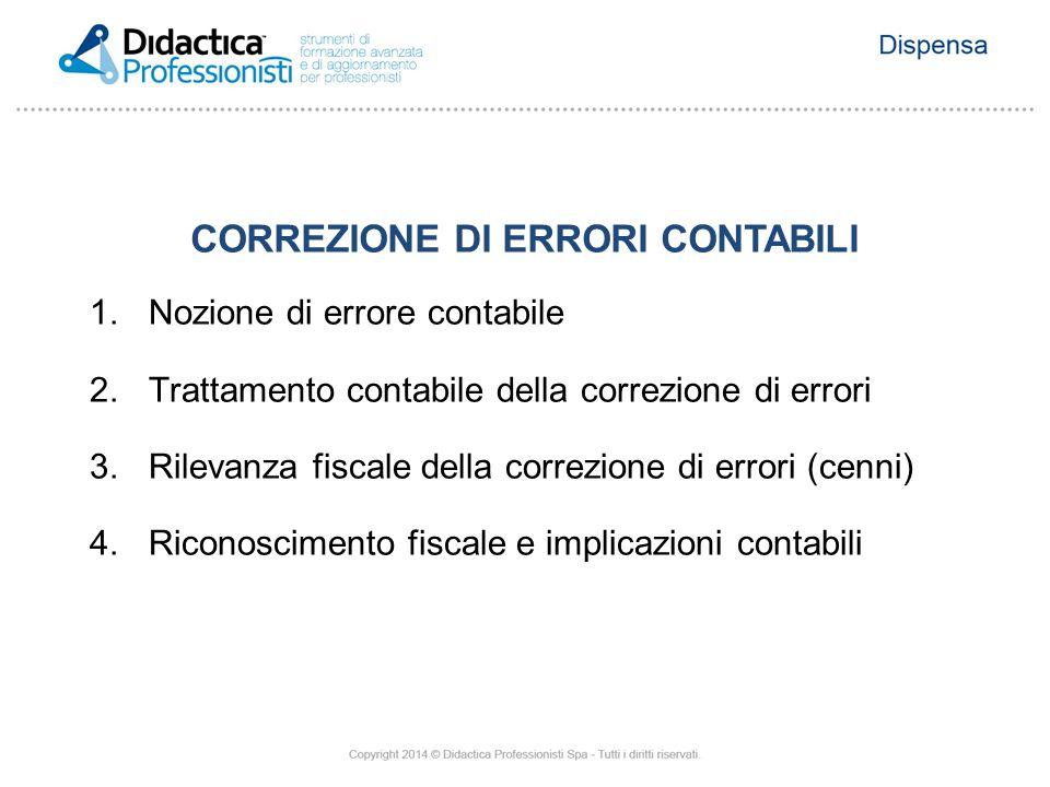 CORREZIONE DI ERRORI CONTABILI 1.Nozione di errore contabile 2.Trattamento contabile della correzione di errori 3.Rilevanza fiscale della correzione d