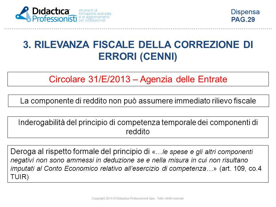 3. RILEVANZA FISCALE DELLA CORREZIONE DI ERRORI (CENNI) Circolare 31/E/2013 – Agenzia delle Entrate La componente di reddito non può assumere immediat