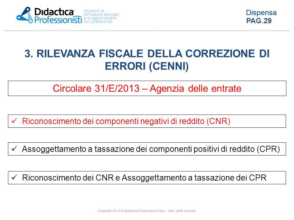 3. RILEVANZA FISCALE DELLA CORREZIONE DI ERRORI (CENNI) Circolare 31/E/2013 – Agenzia delle entrate Riconoscimento dei componenti negativi di reddito