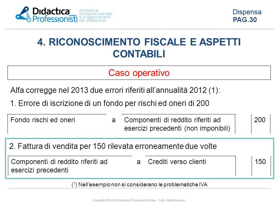 4. RICONOSCIMENTO FISCALE E ASPETTI CONTABILI Caso operativo Alfa corregge nel 2013 due errori riferiti all'annualità 2012 (1): ( 1 ) Nell'esempio non