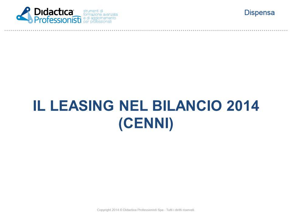 IL LEASING NEL BILANCIO 2014 (CENNI)