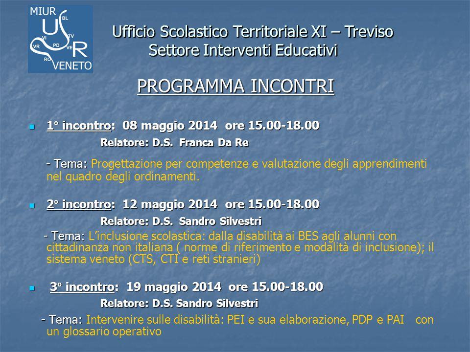 Ufficio Scolastico Territoriale XI – Treviso Settore Interventi Educativi Ufficio Scolastico Territoriale XI – Treviso Settore Interventi Educativi PR