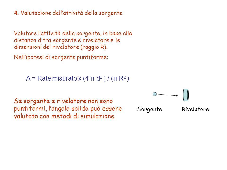 4. Valutazione dell'attività della sorgente Valutare l'attività della sorgente, in base alla distanza d tra sorgente e rivelatore e le dimensioni del