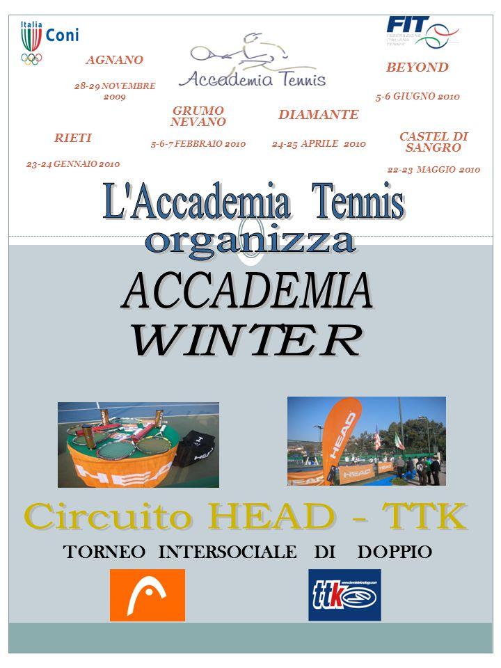 TORNEO INTERSOCIALE DI DOPPIO PREMI PER OGNI SINGOLA TAPPA 1° CLASS: MEDAGLIA + PREMIO HEAD/TTK 2° CLASS: MEDAGLIA + PREMIO HEAD/TTK AGNANO 28-29 NOVEMBRE 2009 RIETI 23-24 GENNAIO 2010 GRUMO NEVANO 5-6-7 FEBBRAIO 2010 DIAMANTE 24-25 APRILE 2010 BEYOND 5-6 GIUGNO 2010 CASTEL DI SANGRO 22-23 MAGGIO 2010