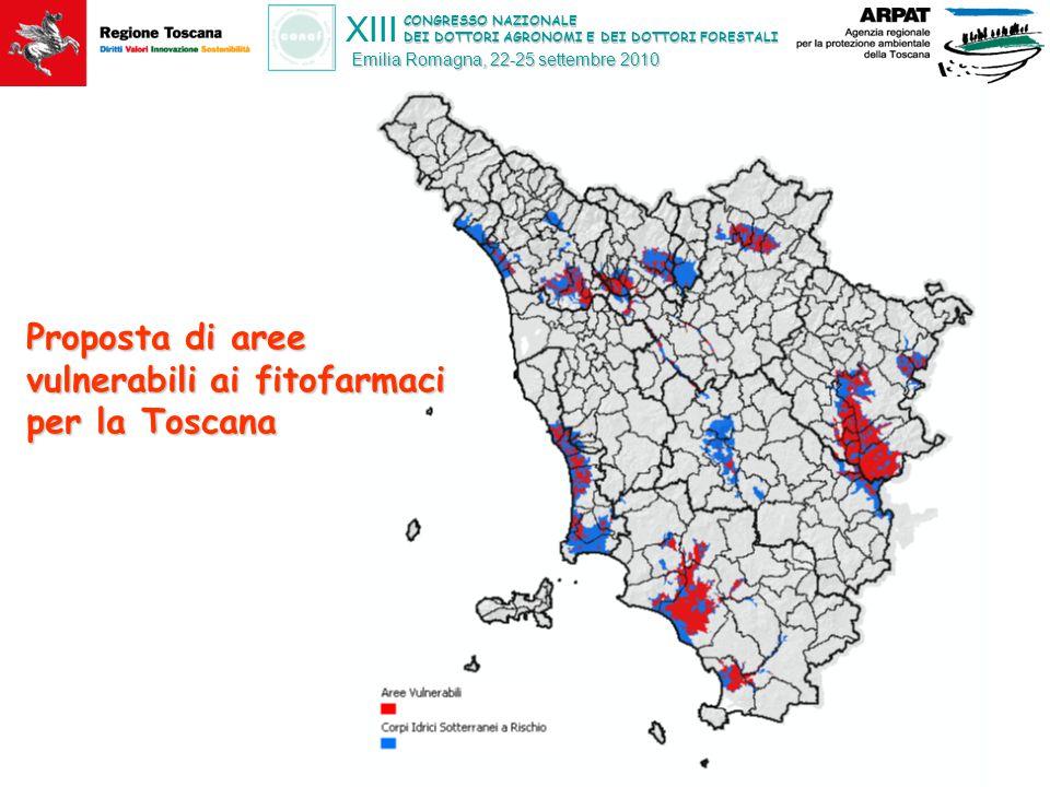 CONGRESSO NAZIONALE DEI DOTTORI AGRONOMI E DEI DOTTORI FORESTALI XIII Emilia Romagna, 22-25 settembre 2010 Proposta di aree vulnerabili ai fitofarmaci