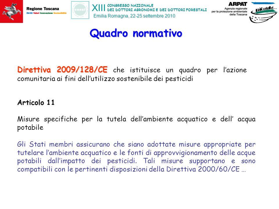 CONGRESSO NAZIONALE DEI DOTTORI AGRONOMI E DEI DOTTORI FORESTALI XIII Emilia Romagna, 22-25 settembre 2010 Il D.Lgs 152/2006 parte III recentemente modificata Tutela delle acque dall'inquinamento Valutazione e classificazione delle acque in funzione degli obiettivi di qualità ambientale allinea l' Italia alla Direttiva 2000/60/CE Per le acque superficiali -vengono definiti SQA per circa 40 ss.aa.