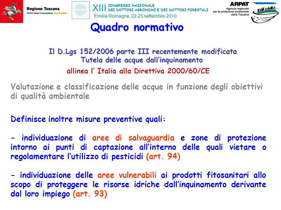 CONGRESSO NAZIONALE DEI DOTTORI AGRONOMI E DEI DOTTORI FORESTALI XIII Emilia Romagna, 22-25 settembre 2010 Risultati del monitoraggio delle acque effettuato dalle Agenzie ambientali regionali in Italia http://www.appa.provincia.tn.it/fitofarmaci/ http://www.isprambiente.it/site/it-IT/Temi/Rischio_delle_sostanze_chimiche