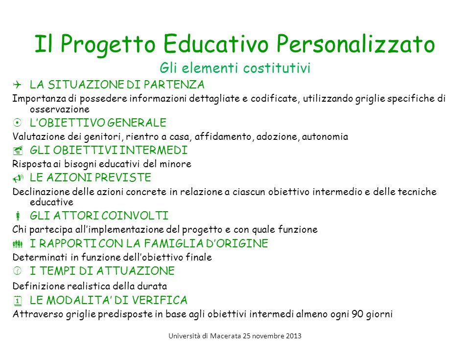 Il Progetto Educativo Personalizzato Gli elementi costitutivi  LA SITUAZIONE DI PARTENZA Importanza di possedere informazioni dettagliate e codificat