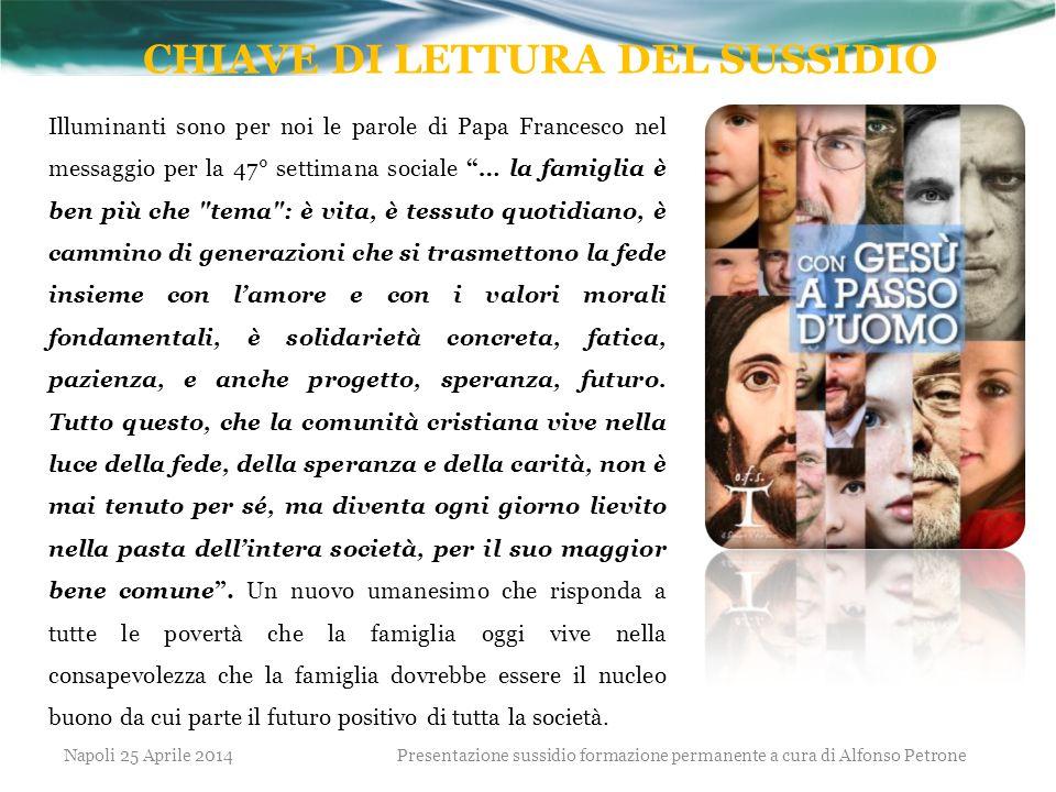 """Illuminanti sono per noi le parole di Papa Francesco nel messaggio per la 47° settimana sociale """"… la famiglia è ben più che"""