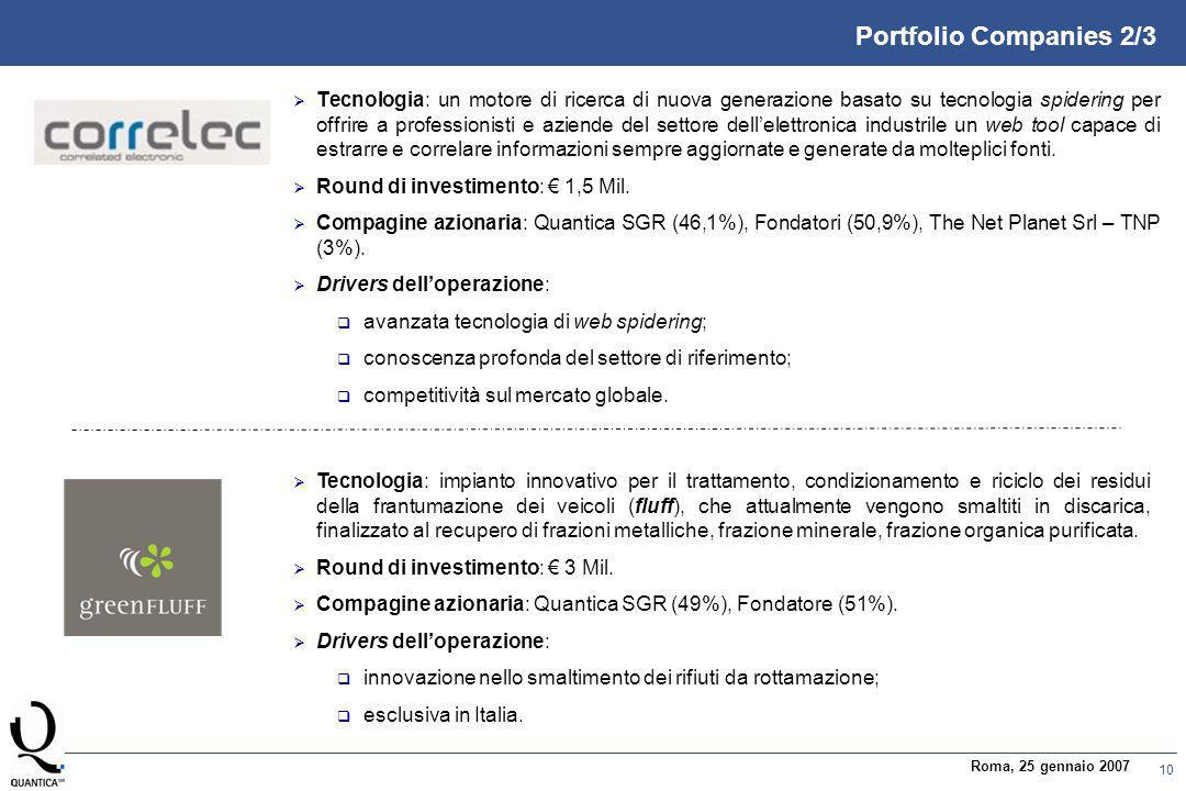 10 Roma, 25 gennaio 2007 Portfolio Companies 2/3  Tecnologia: un motore di ricerca di nuova generazione basato su tecnologia spidering per offrire a