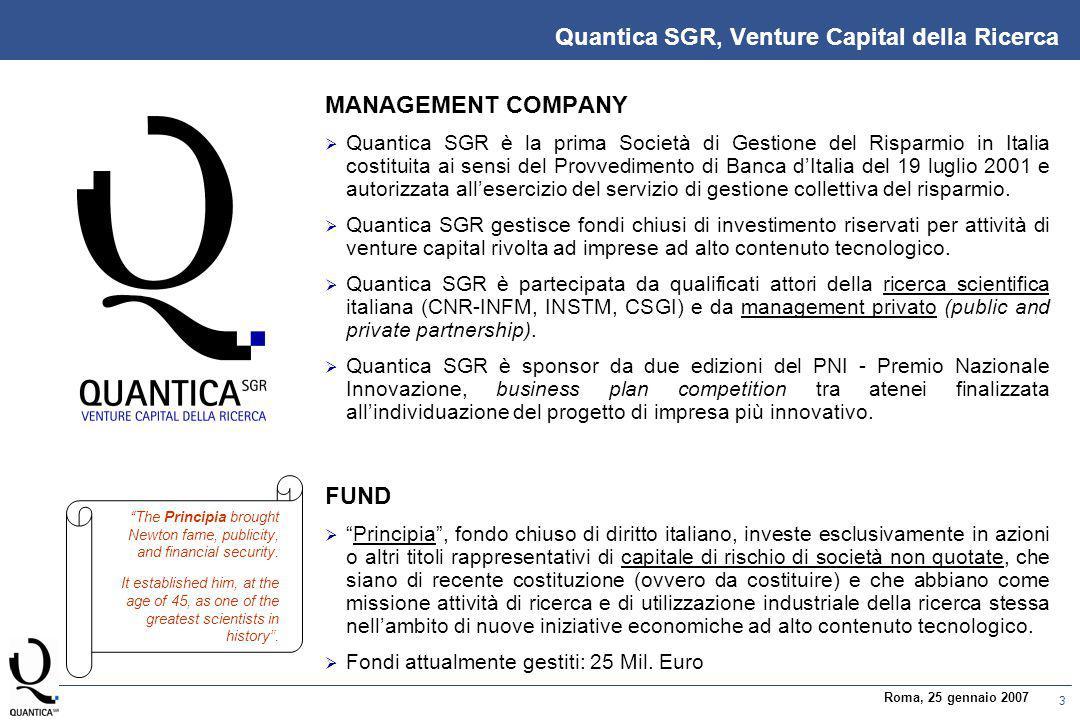 3 Roma, 25 gennaio 2007 MANAGEMENT COMPANY  Quantica SGR è la prima Società di Gestione del Risparmio in Italia costituita ai sensi del Provvedimento di Banca d'Italia del 19 luglio 2001 e autorizzata all'esercizio del servizio di gestione collettiva del risparmio.