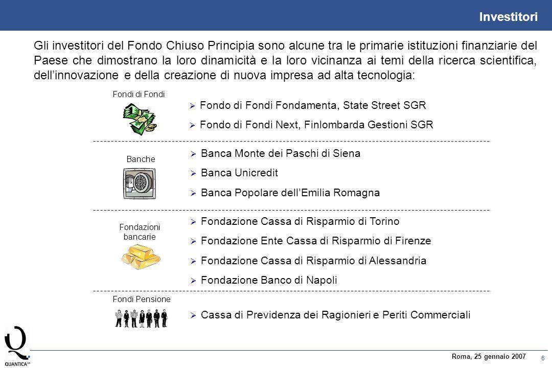 6 Roma, 25 gennaio 2007 Investitori Gli investitori del Fondo Chiuso Principia sono alcune tra le primarie istituzioni finanziarie del Paese che dimos