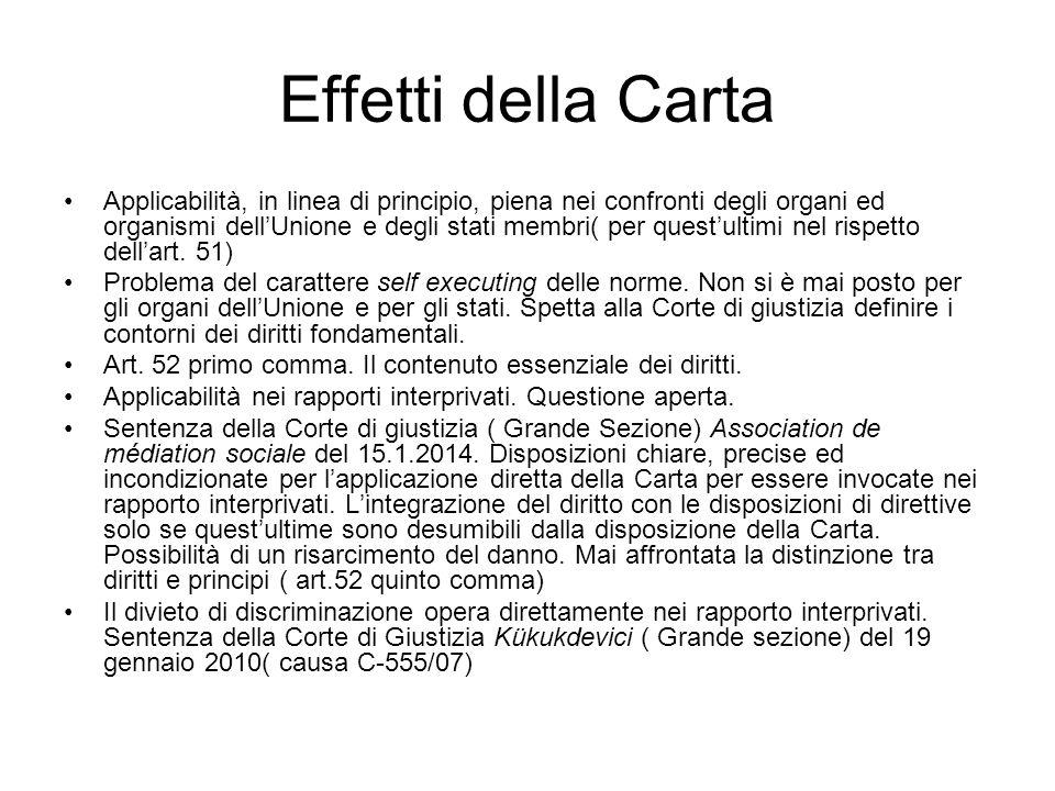 Le linee di espansione dell'efficacia della Carta La non discriminazione.
