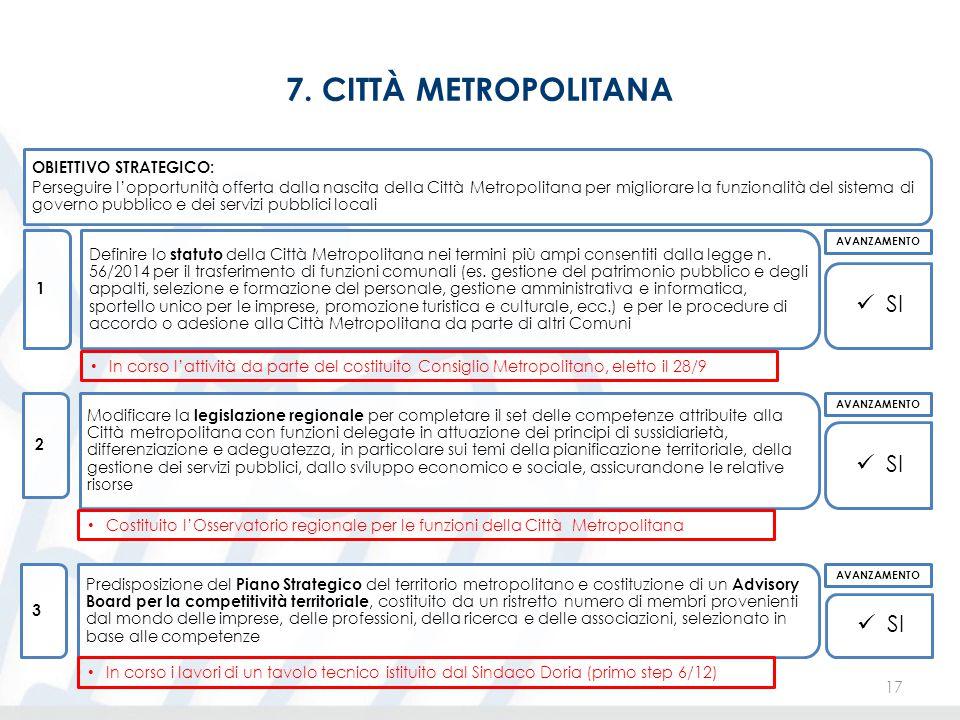 7. CITTÀ METROPOLITANA 17 OBIETTIVO STRATEGICO: Perseguire l'opportunità offerta dalla nascita della Città Metropolitana per migliorare la funzionalit