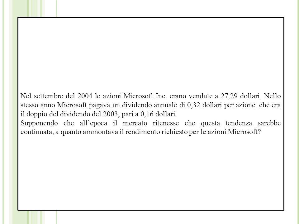 Nel settembre del 2004 le azioni Microsoft Inc. erano vendute a 27,29 dollari.
