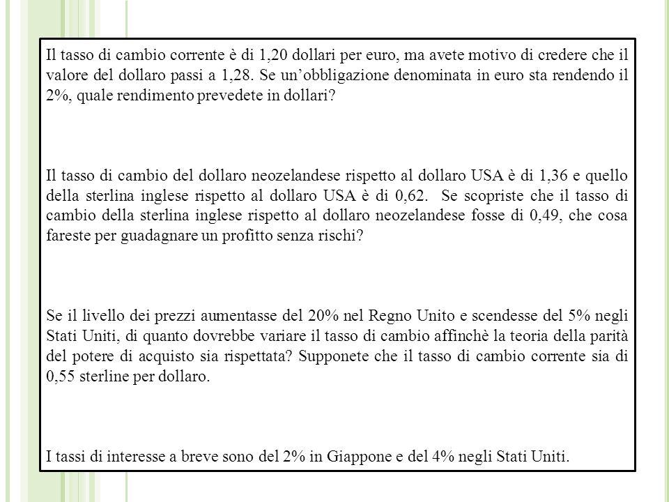Il tasso di cambio corrente è di 1,20 dollari per euro, ma avete motivo di credere che il valore del dollaro passi a 1,28.