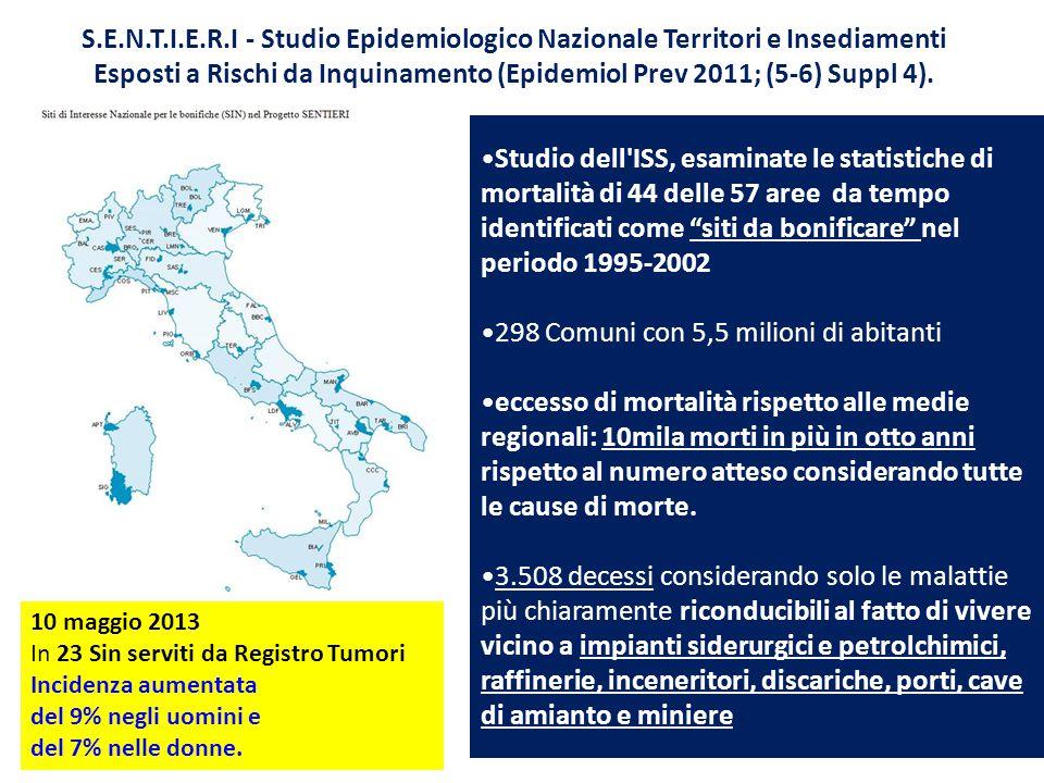 S.E.N.T.I.E.R.I - Studio Epidemiologico Nazionale Territori e Insediamenti Esposti a Rischi da Inquinamento (Epidemiol Prev 2011; (5-6) Suppl 4).
