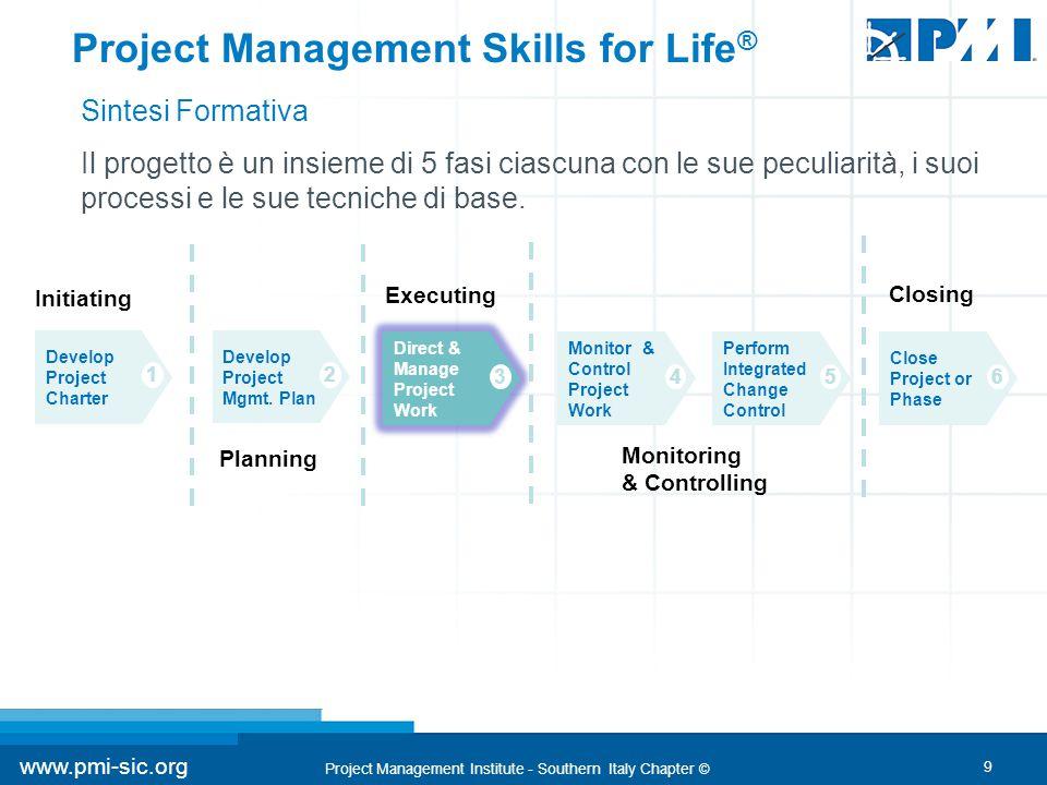 9 www.pmi-sic.org Project Management Institute - Southern Italy Chapter © Il progetto è un insieme di 5 fasi ciascuna con le sue peculiarità, i suoi processi e le sue tecniche di base.