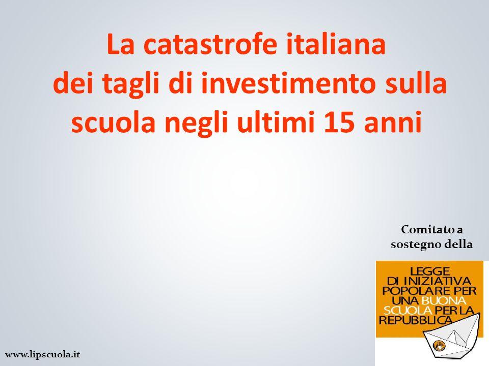 La catastrofe italiana dei tagli di investimento sulla scuola negli ultimi 15 anni 1 Comitato a sostegno della www.lipscuola.it