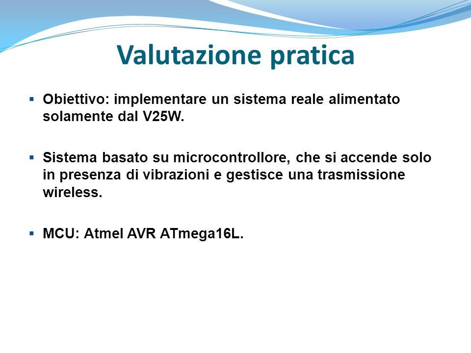 Valutazione pratica  Obiettivo: implementare un sistema reale alimentato solamente dal V25W.  Sistema basato su microcontrollore, che si accende sol