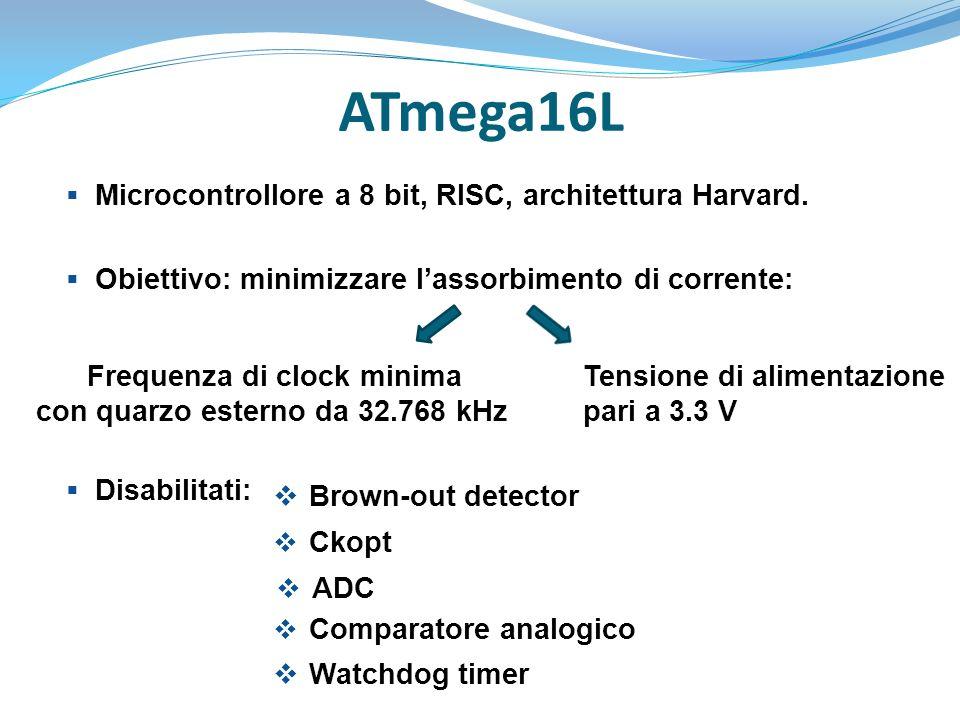 ATmega16L  Microcontrollore a 8 bit, RISC, architettura Harvard.  Obiettivo: minimizzare l'assorbimento di corrente:  Disabilitati: Frequenza di cl