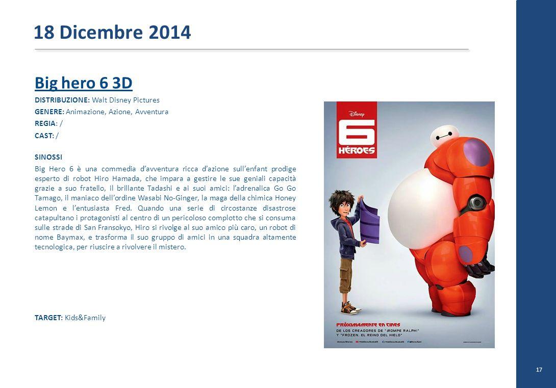 Big hero 6 3D DISTRIBUZIONE: Walt Disney Pictures GENERE: Animazione, Azione, Avventura REGIA: / CAST: / SINOSSI Big Hero 6 è una commedia d'avventura