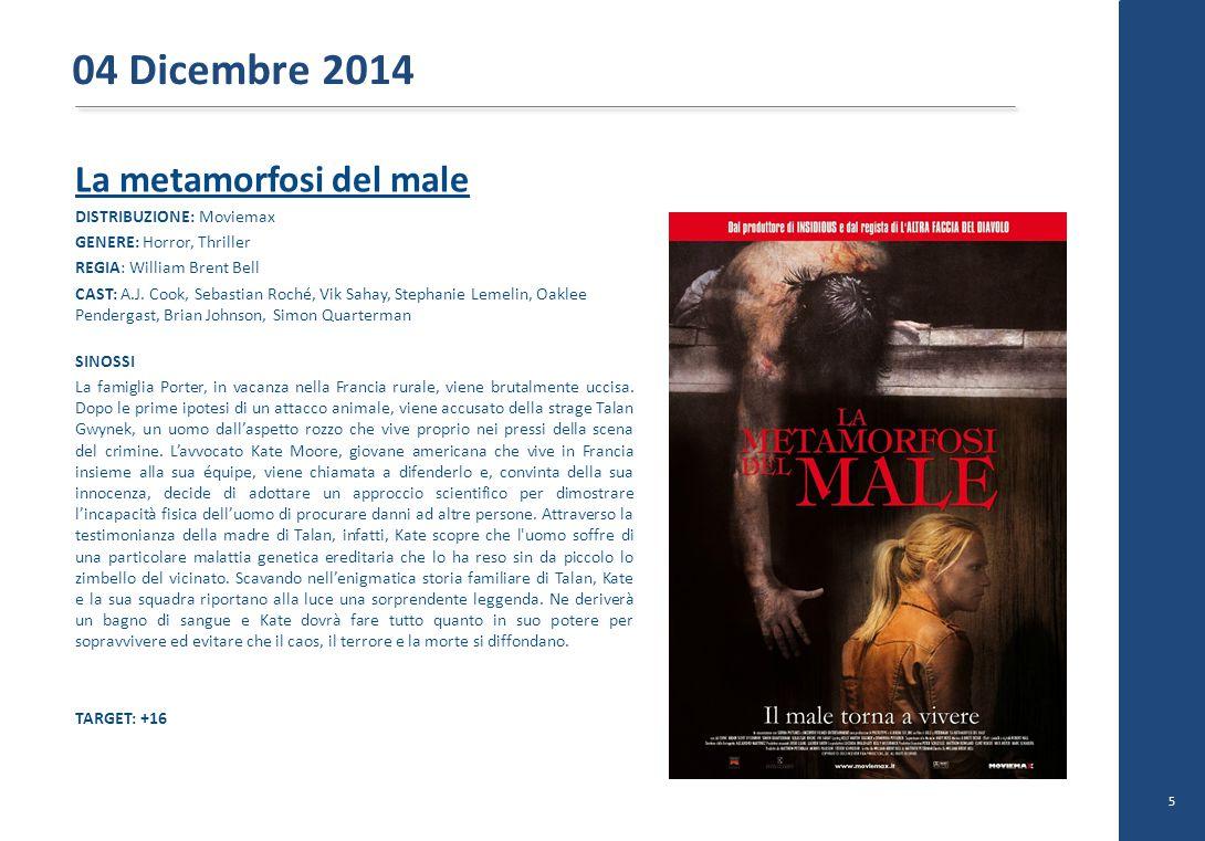 La metamorfosi del male DISTRIBUZIONE: Moviemax GENERE: Horror, Thriller REGIA: William Brent Bell CAST: A.J. Cook, Sebastian Roché, Vik Sahay, Stepha