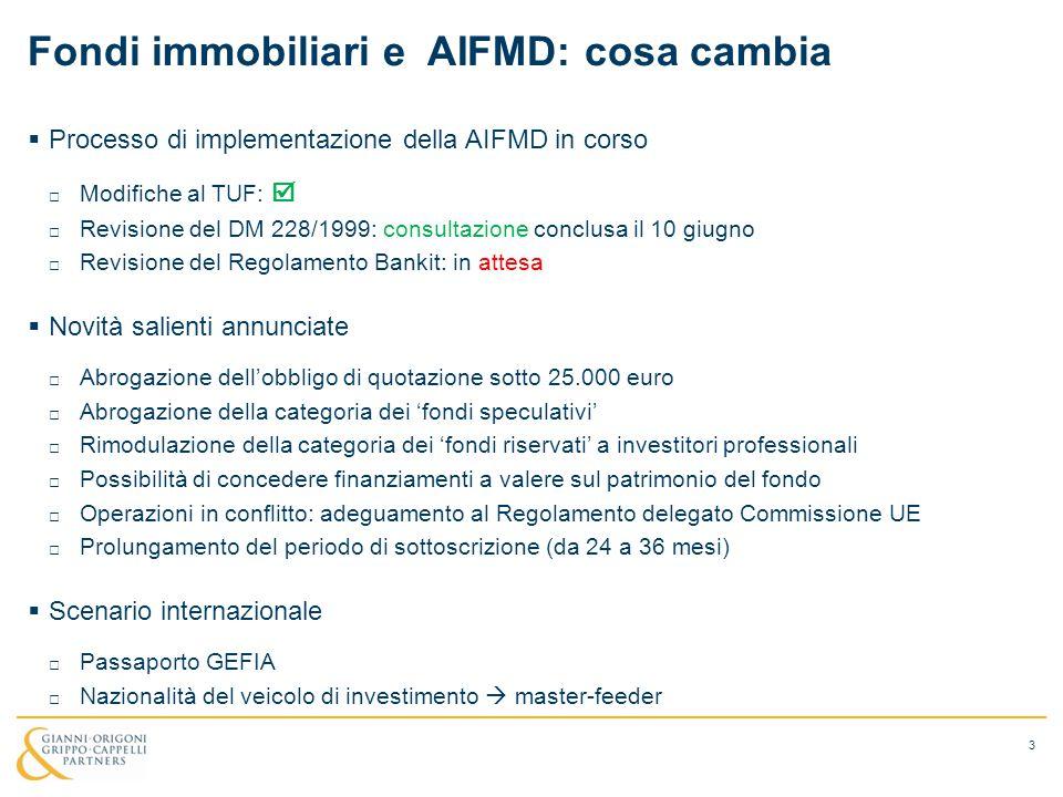 Fondi immobiliari e AIFMD: cosa cambia  Processo di implementazione della AIFMD in corso □ Modifiche al TUF:  □ Revisione del DM 228/1999: consultaz