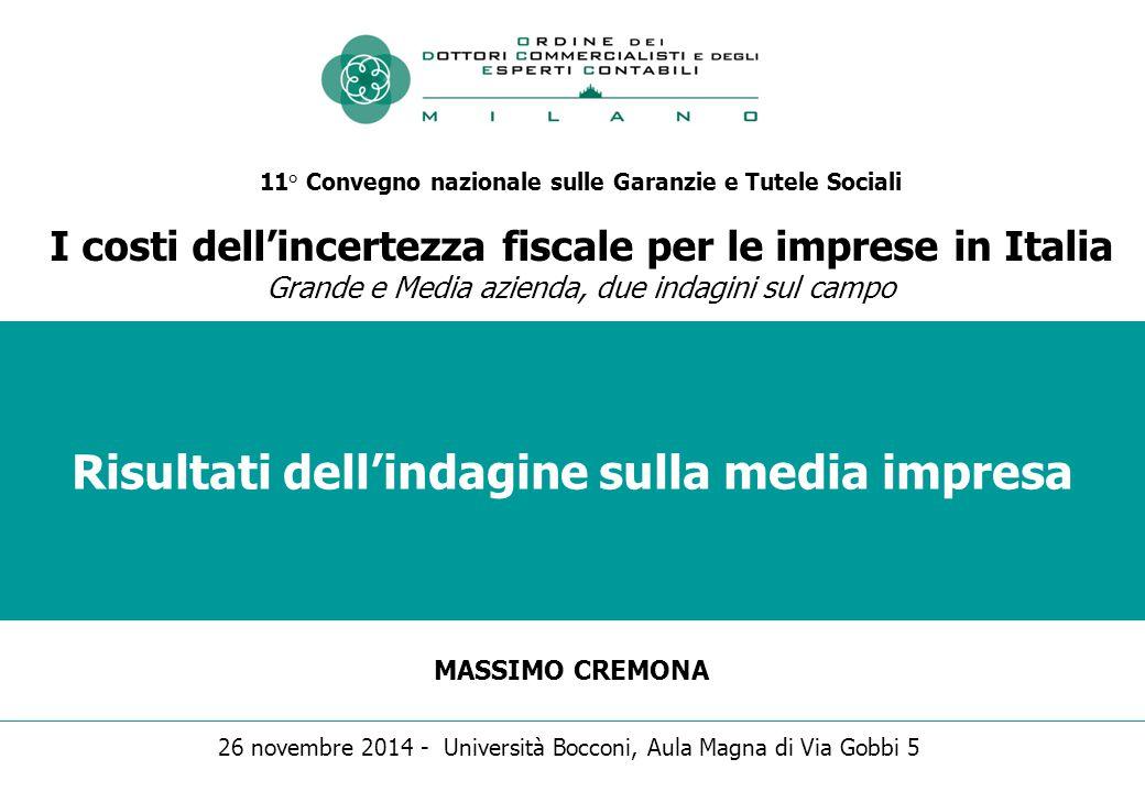 Risultati dell'indagine sulla media impresa MASSIMO CREMONA 11° Convegno nazionale sulle Garanzie e Tutele Sociali I costi dell'incertezza fiscale per