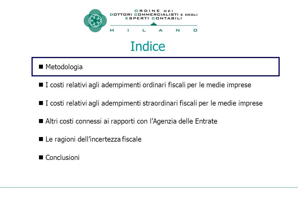 Indice Metodologia I costi relativi agli adempimenti ordinari fiscali per le medie imprese I costi relativi agli adempimenti straordinari fiscali per le medie imprese Altri costi connessi ai rapporti con l'Agenzia delle Entrate Le ragioni dell'incertezza fiscale Conclusioni