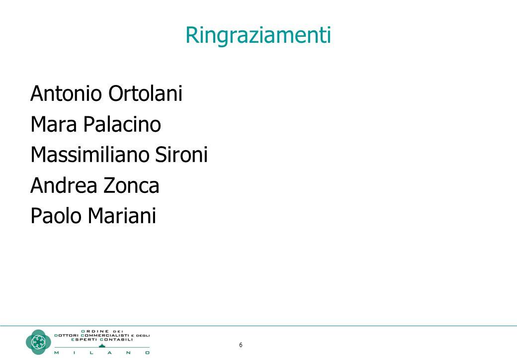 6 Ringraziamenti Antonio Ortolani Mara Palacino Massimiliano Sironi Andrea Zonca Paolo Mariani