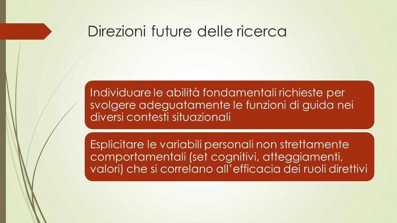 Direzioni future delle ricerca Individuare le abilità fondamentali richieste per svolgere adeguatamente le funzioni di guida nei diversi contesti situ