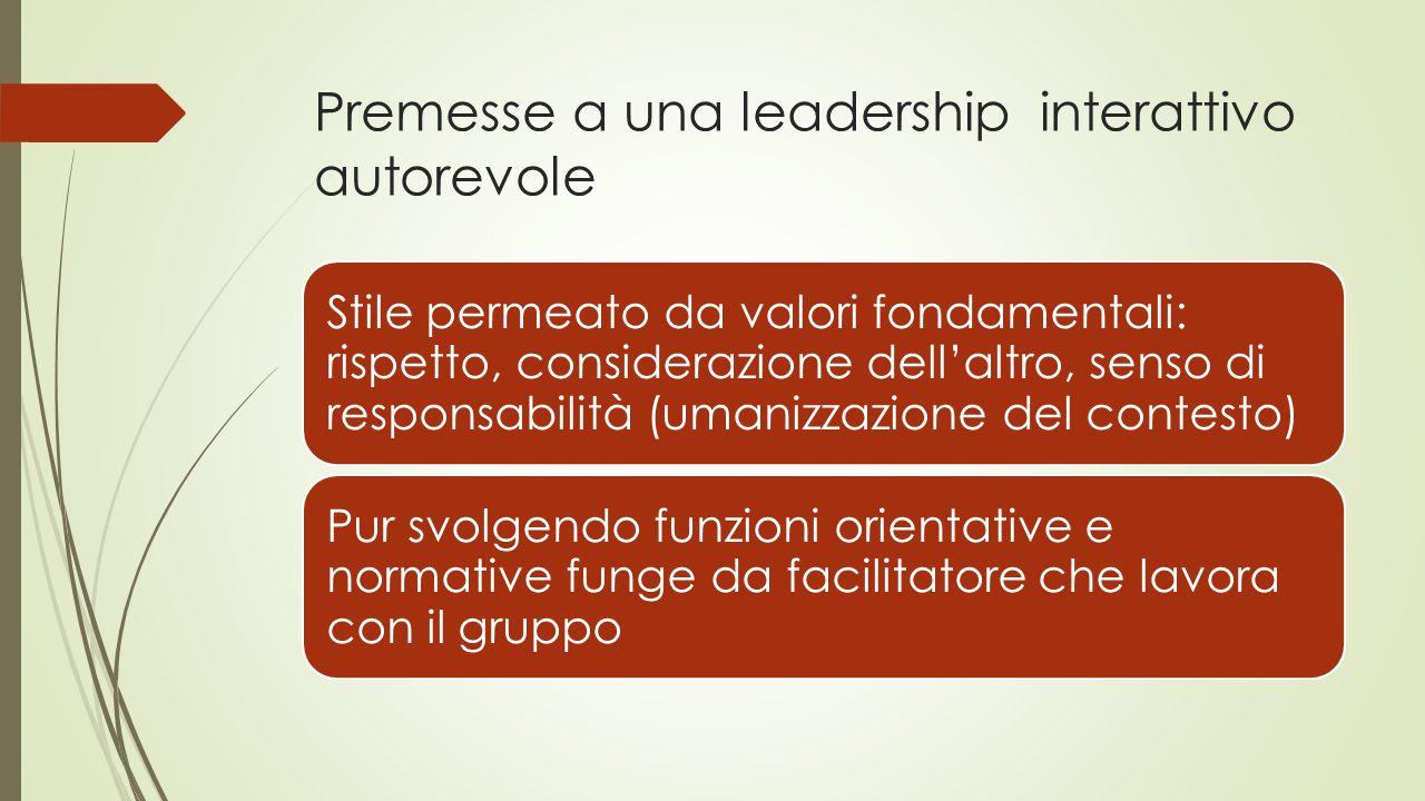 Premesse a una leadership interattivo autorevole Stile permeato da valori fondamentali: rispetto, considerazione dell'altro, senso di responsabilità (umanizzazione del contesto) Pur svolgendo funzioni orientative e normative funge da facilitatore che lavora con il gruppo
