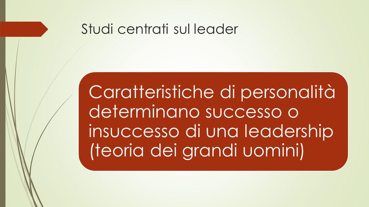 Studi centrati sul leader Caratteristiche di personalità determinano successo o insuccesso di una leadership (teoria dei grandi uomini)
