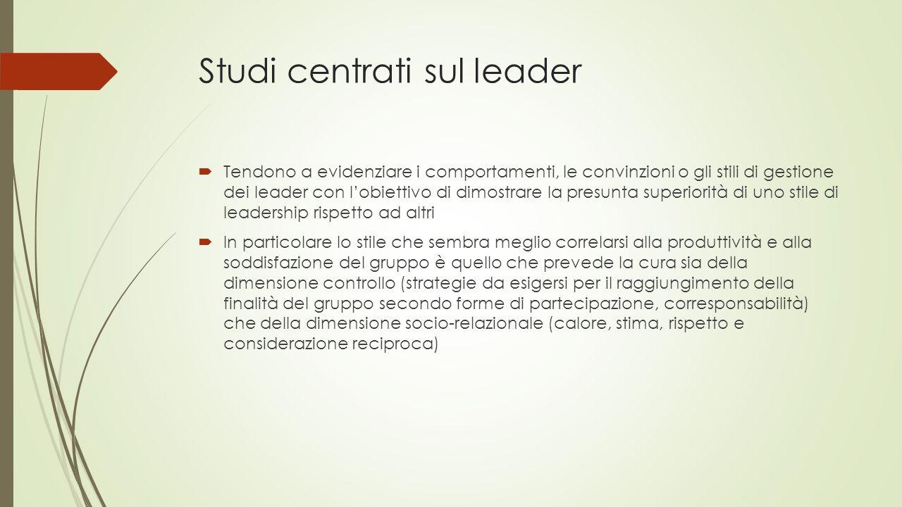 Studi centrati sul leader  Tendono a evidenziare i comportamenti, le convinzioni o gli stili di gestione dei leader con l'obiettivo di dimostrare la