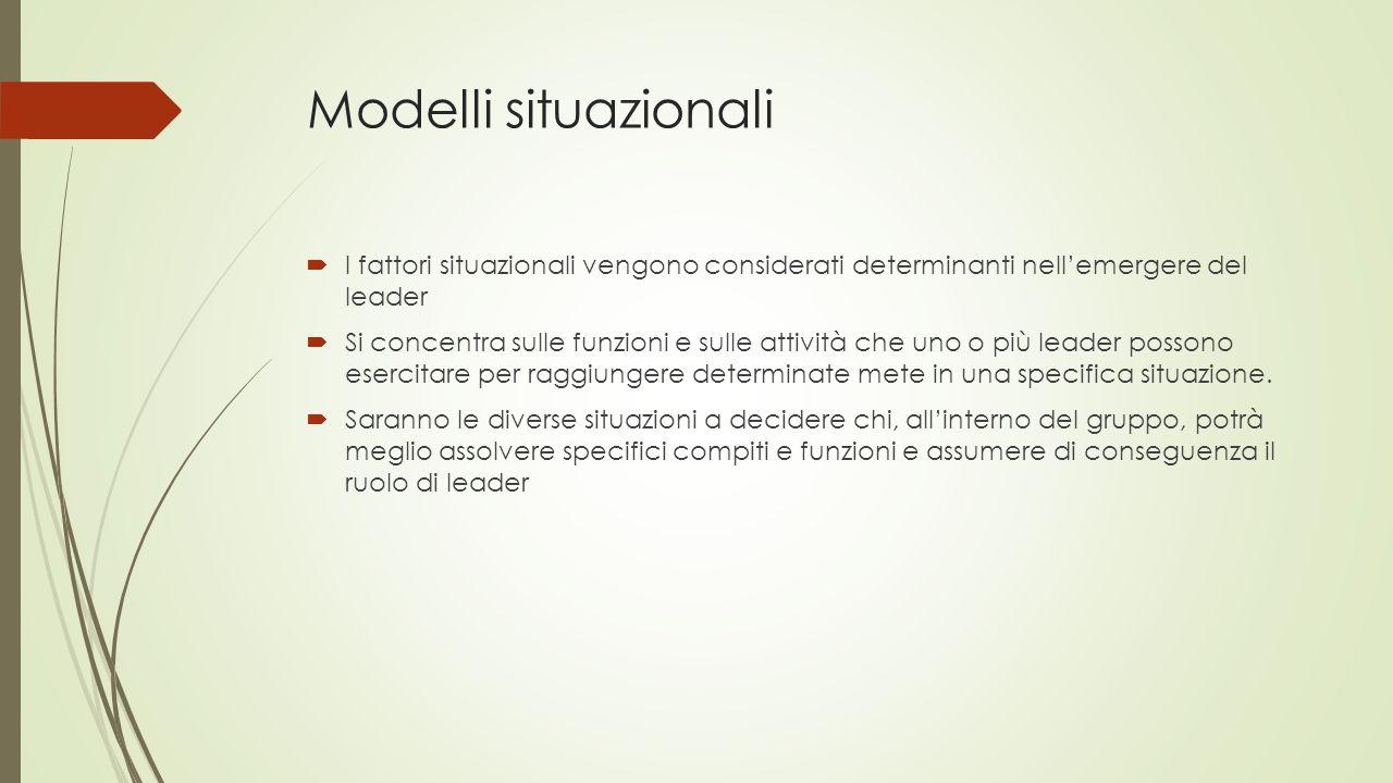 Modelli situazionali  I fattori situazionali vengono considerati determinanti nell'emergere del leader  Si concentra sulle funzioni e sulle attività
